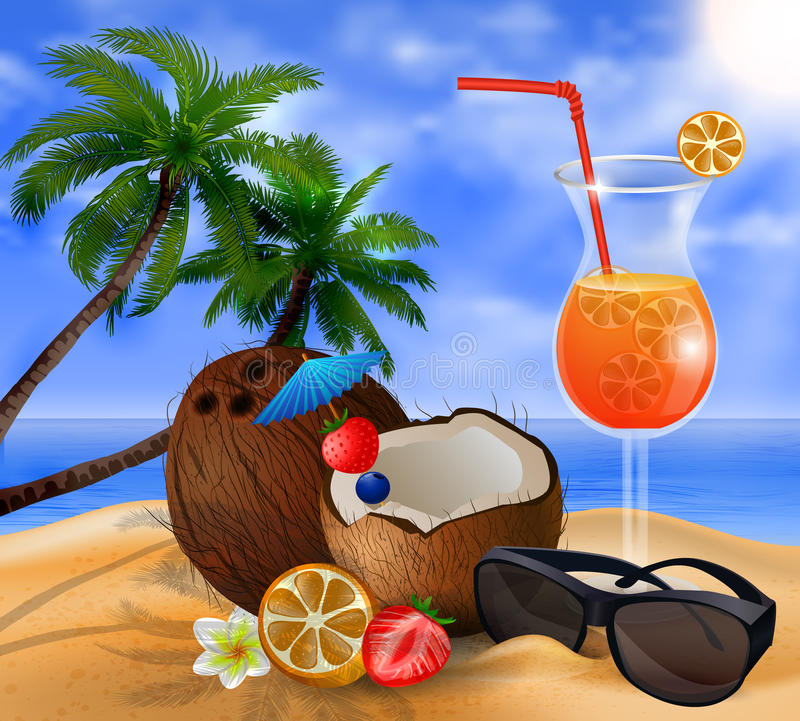 Cocktail exotique de noix de coco illustration libre de droits