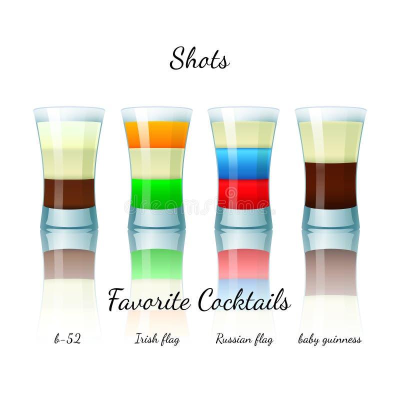 Cocktail favoritos do tiro ajustados, isolado ilustração do vetor