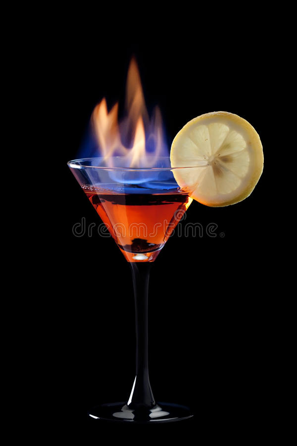 Cocktail flamejante foto de stock