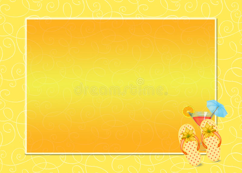 Cocktail with flip-flip frame royalty free illustration
