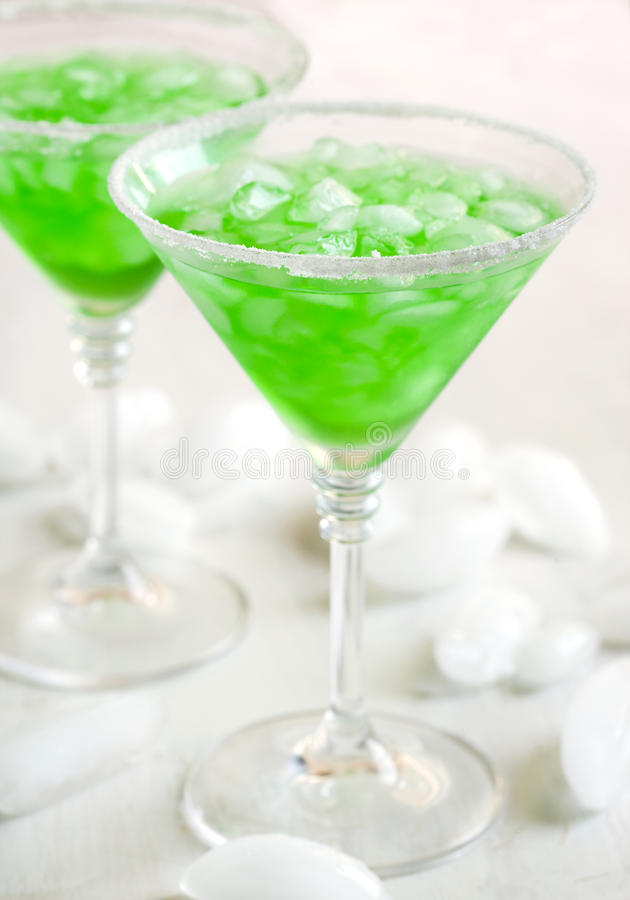 Cocktail Foggy London Town. Green cocktail stock images