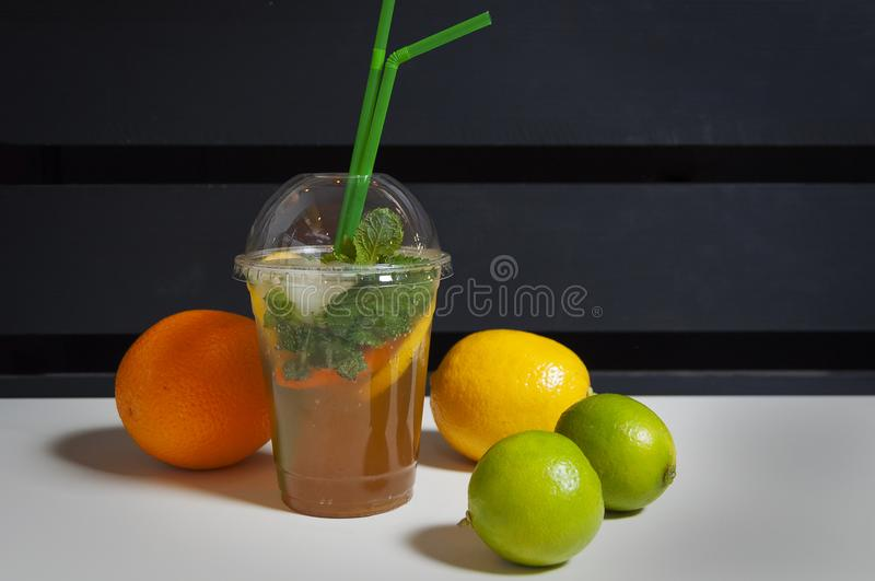 Cocktail and fruits stock photos