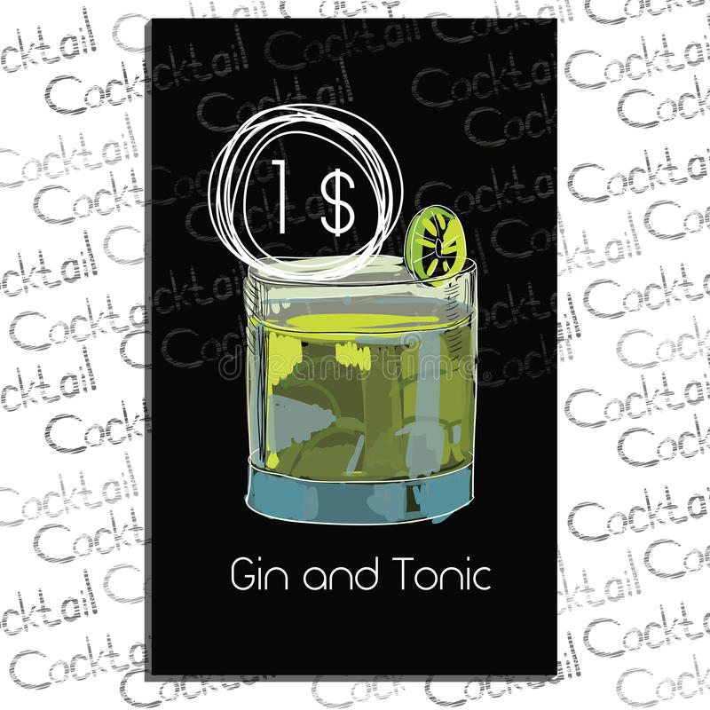 Cocktail Gin and Tonic with price on chalk board. stock illustration