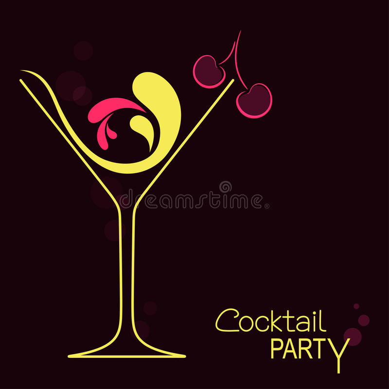 Cocktail. Glass with abstract splashes and cherry. Design for  party invitation or drinks bar menu royalty free illustration