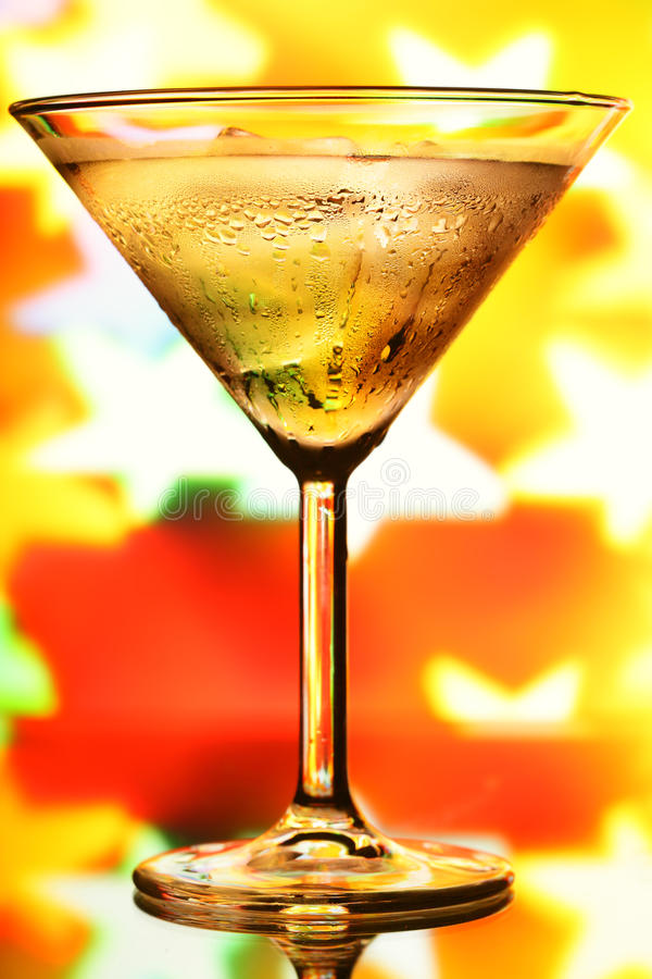 Cocktail glass. And blurred stars in the background stock images