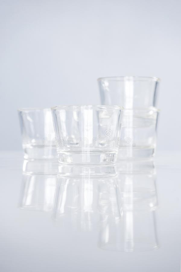 Cocktail Glass Collection, Empty glass Shots on table. Cocktail Glass Collection, Empty glass Shots on gray table background stock photo
