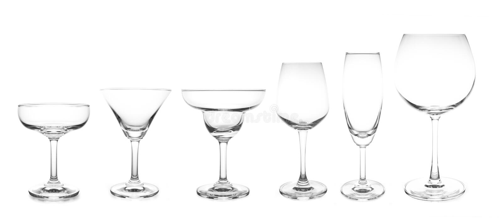 Cocktail glass collection most popular cocktail and wine glasses stock photo