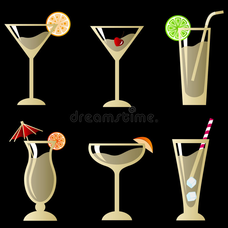 Cocktail glass with fruit stock illustration