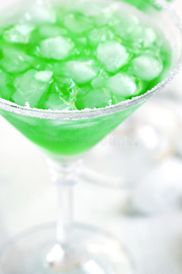 Cocktail. Glass of Green Cocktail close up royalty free stock photography