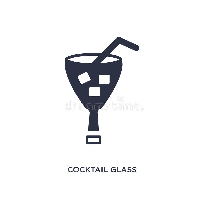 Cocktail glass with ice cube icon on white background. Simple element illustration from bistro and restaurant concept stock illustration