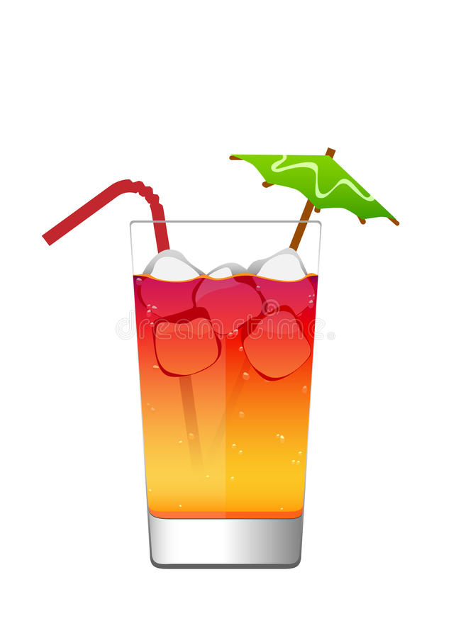 Cocktail in a glass with ice and umbrella stock images