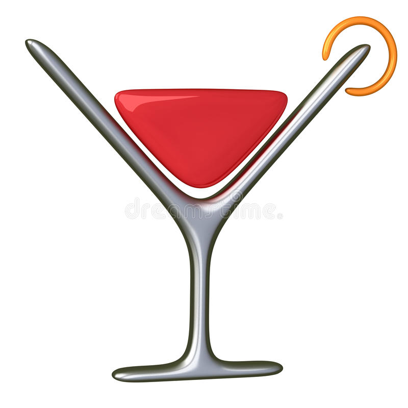 Cocktail glass icon 3d royalty free illustration