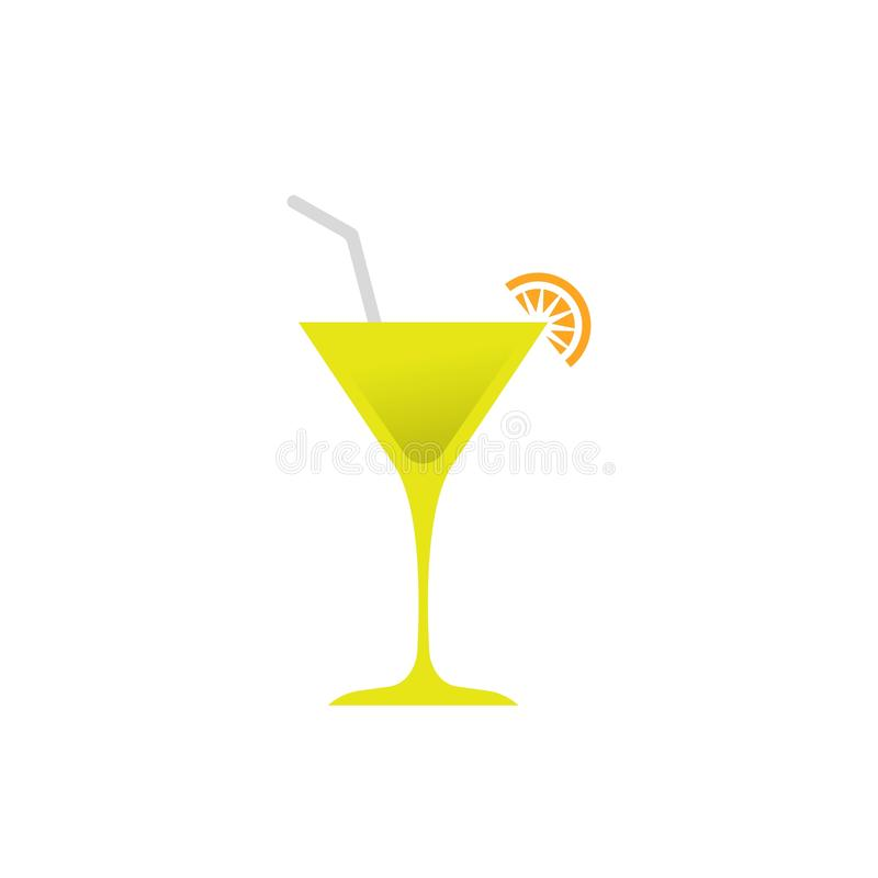 Cocktail glass icon - Vector cocktail glass sign - alcohol illustration  cocktail. Isolated, drink, bar, martini, restaurant, beverage, wine, design, symbol stock illustration