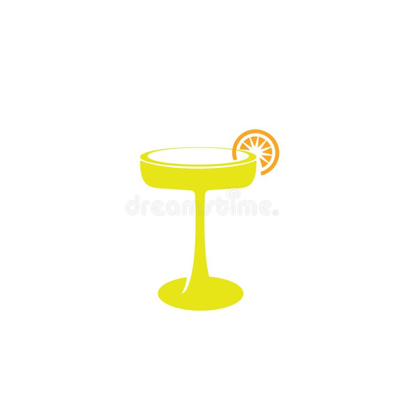 Cocktail glass icon - Vector cocktail glass sign - alcohol illustration  cocktail. Isolated, drink, bar, martini, restaurant, beverage, wine, design, symbol royalty free illustration