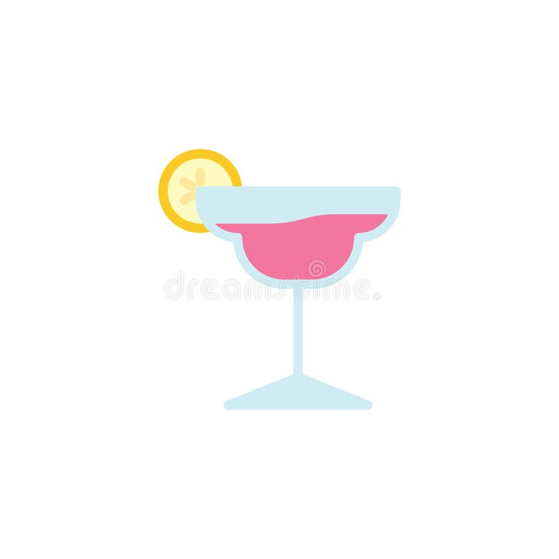 Cocktail glass with lime flat icon. Vector sign, Margarita Cocktail colorful pictogram isolated on white. Symbol, logo illustration. Flat style design royalty free illustration