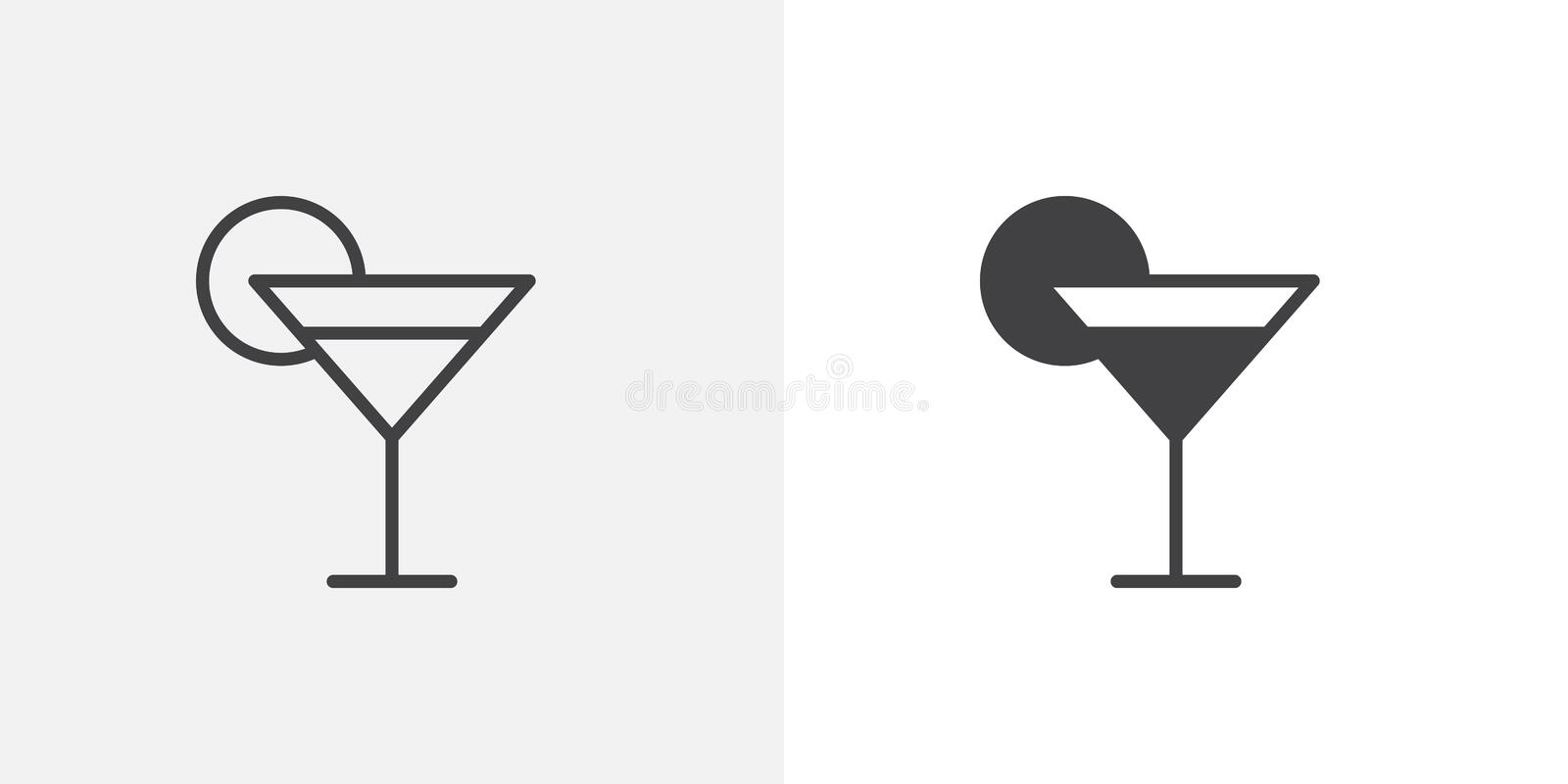 Cocktail glass with lime icon. Line and glyph version, outline and filled vector sign. Margarita cocktail linear and full pictogram. Symbol, logo illustration vector illustration