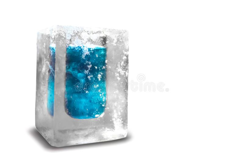 Cocktail glass made of ice stock photo