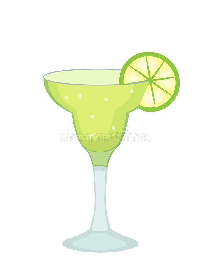 Cocktail glass for Margarita and tequila with lime slice icon flat, cartoon style. Drink isolated on white background. Alcoholic cocktail. Vector illustration stock illustration