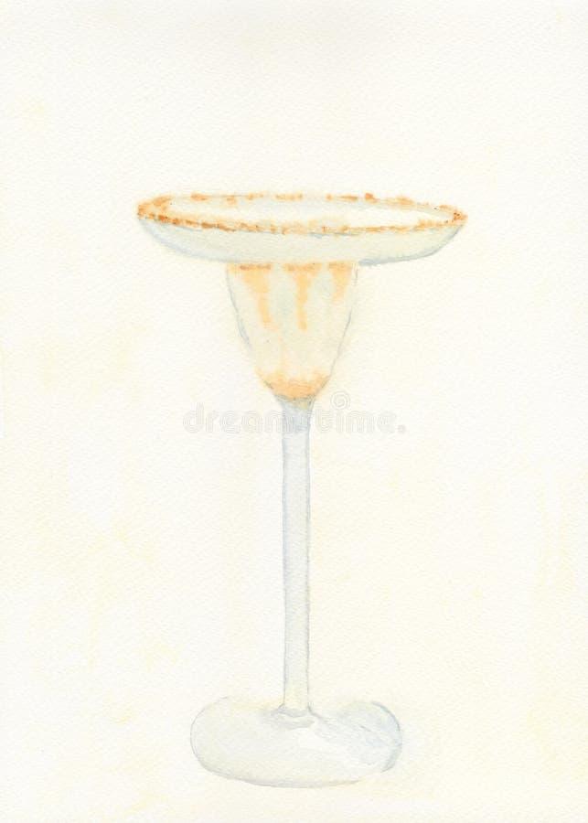 Cocktail Glass. Original Hand drawn Watercolour illustration od a Margarita Cocktail Glass stock illustration