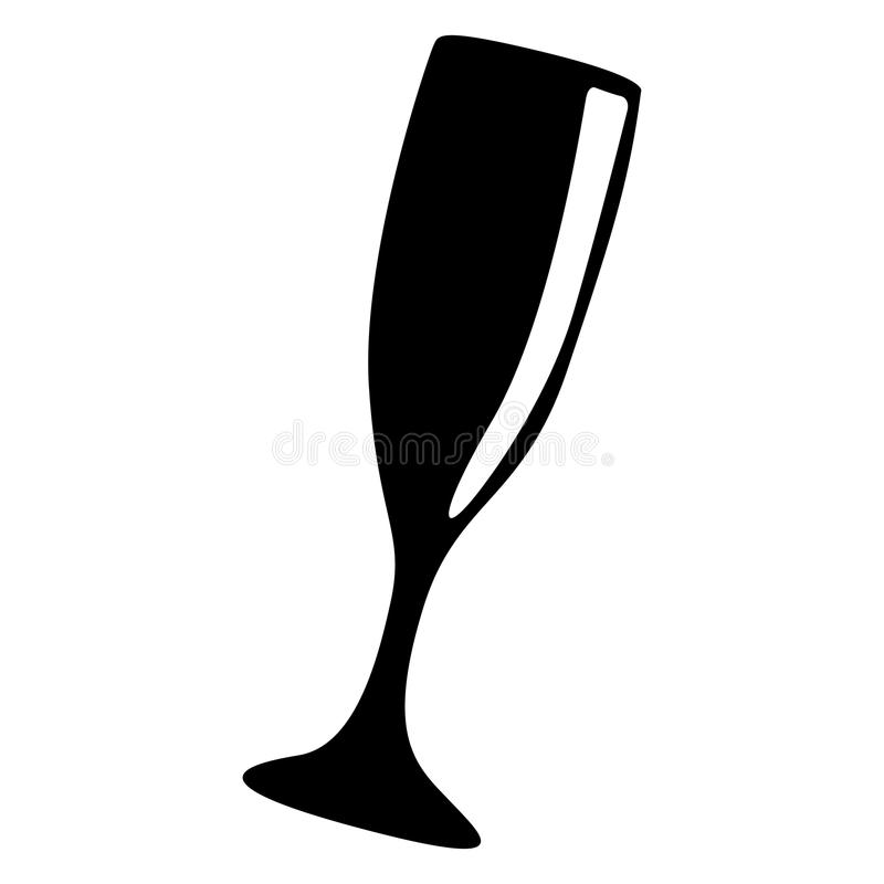 Cocktail glass silhouette stock illustration