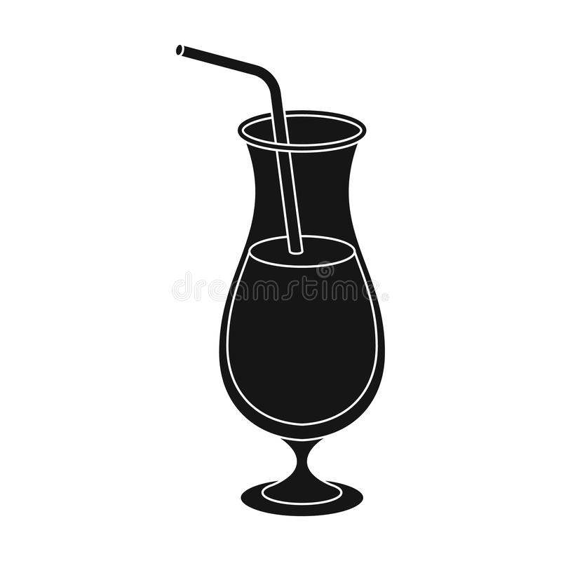 A cocktail in a glass with a straw. Drink for playing in the casino.Kasino single icon in black style vector symbol royalty free illustration