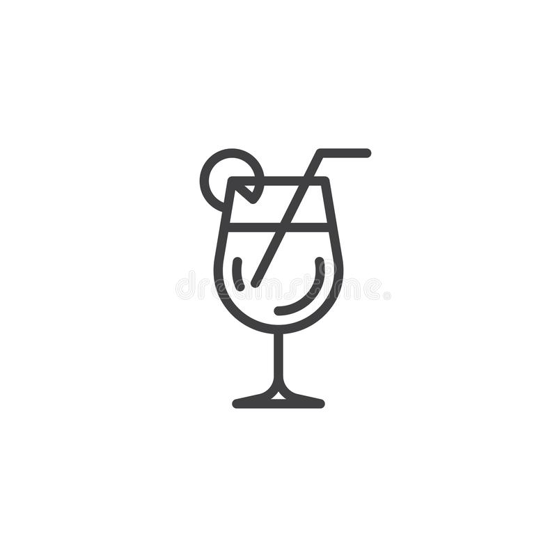 Cocktail glass with straw and lemon line icon. Linear style sign for mobile concept and web design. Tropical cocktail drink outline vector icon. Symbol logo royalty free illustration