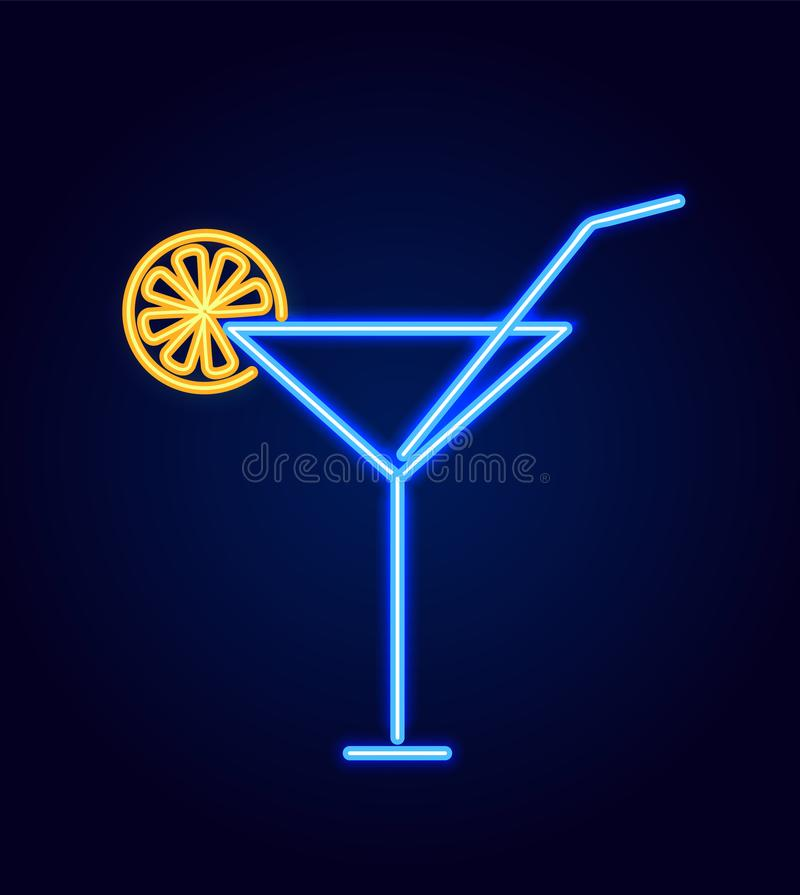 Cocktail Glass with Straw Neon Vector Illustration. Cocktail glass with straw and decoration as slice of lemon, neon sign with glowing, poster with drink vector stock illustration