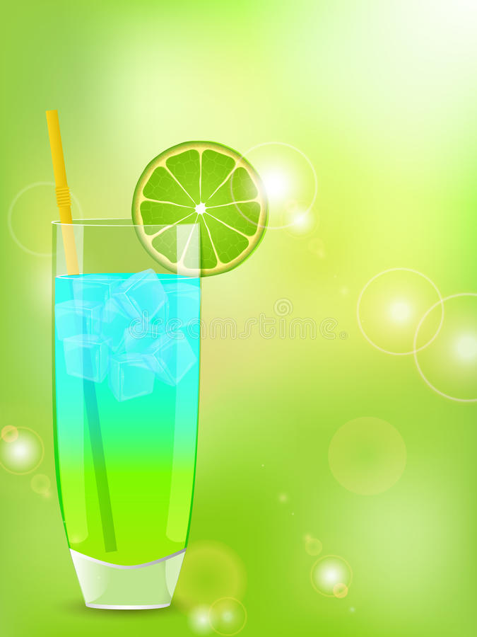 Cocktail on a green background. Cocktail with lime slice on a glow green background vector illustration