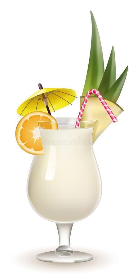 Cocktail guarnito di Pina Colada isolato su bianco illustrazione di stock