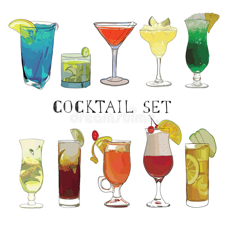 Cocktail hand drawn, decorative icons set with margarita mojito royalty free illustration