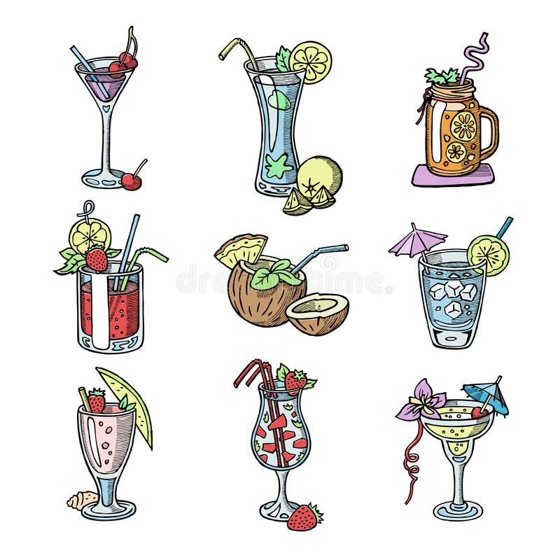 Free Cocktail Hand Drawn Sketch Vector Alcohol Drinks Bar Party Glass Cocktail Collection Isolated On White Background Stock Image - 104278461