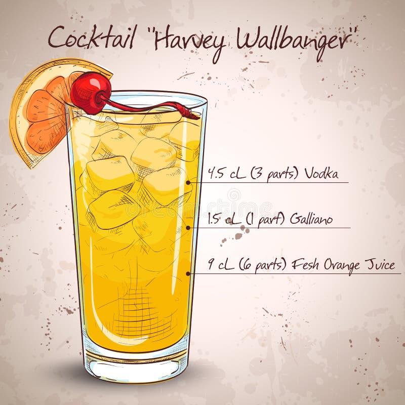 Cocktail Harvey Wallbanger. Harvey Wallbanger cocktail. Made from Vodka, Vanilla Galliano, Fresh orange juice royalty free illustration