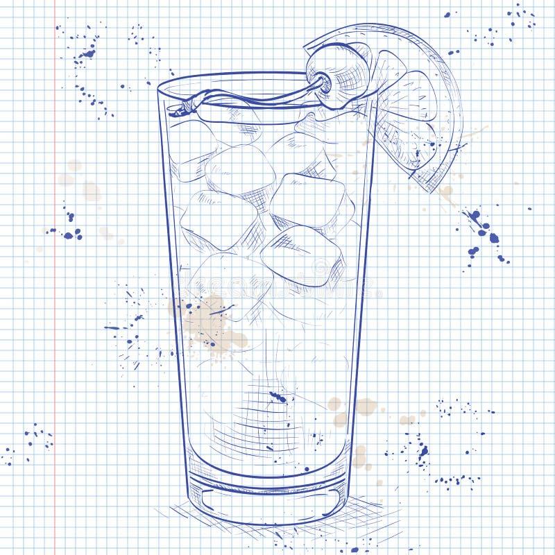 Cocktail Harvey Wallbanger on a notebook page. Harvey Wallbanger cocktail on a notebook page. Made from Vodka, Vanilla Galliano, Fresh orange juice royalty free illustration