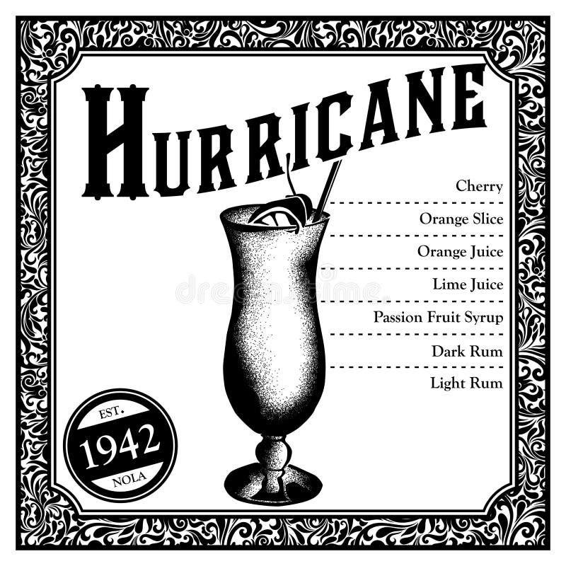 Cocktail historique de la Nouvelle-Orléans l'ouragan illustration libre de droits