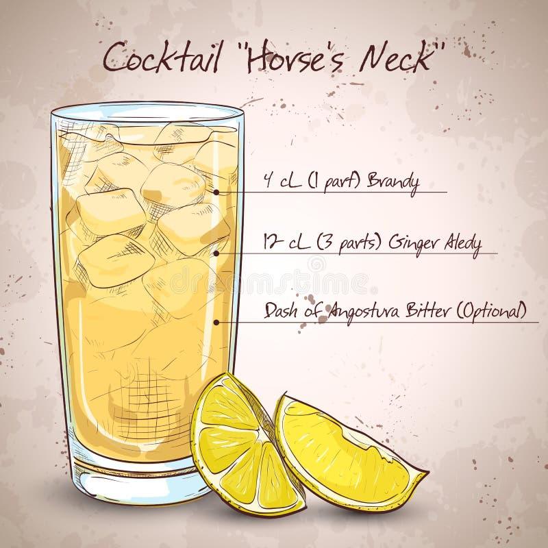 Cocktail Horse Neck. Made from Light rum, ginger ale, Angostura Bitter, ice cubes, lemon stock illustration