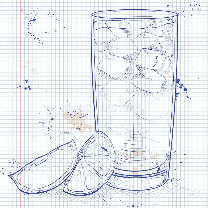 Cocktail Horse Neck on a notebook page. Made from Light rum, ginger ale, Angostura Bitter, ice cubes, lemon royalty free illustration