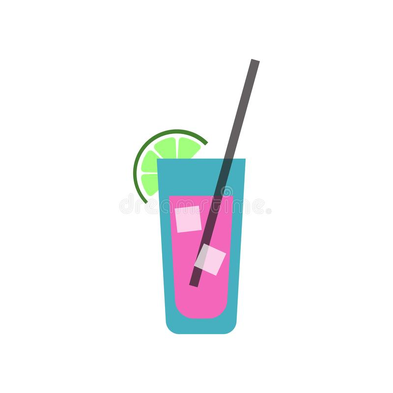 Cocktail icon with lime on white background. Mojito royalty free illustration