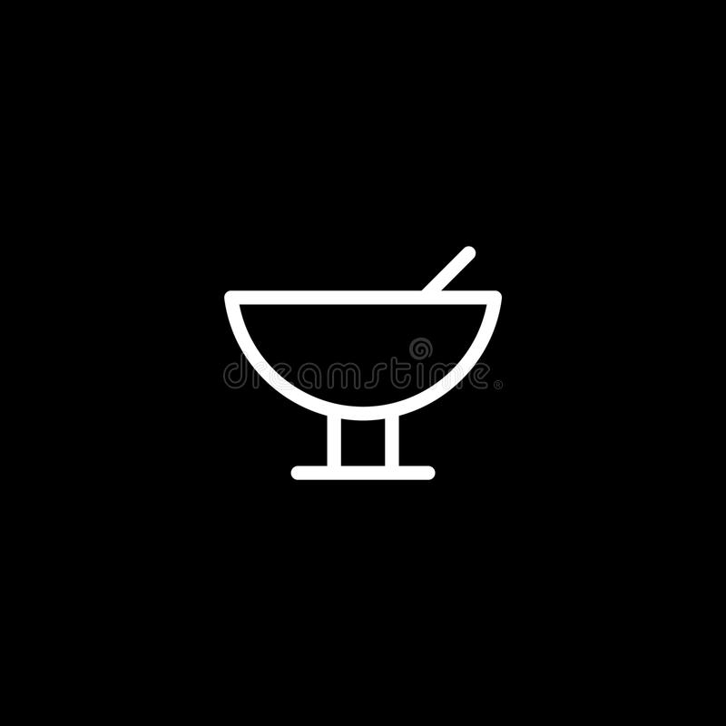 Cocktail icon vector, outline logo, pictogram on black,. Pixel perfect illustration stock illustration