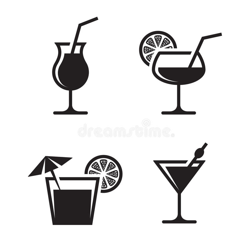 Cocktail icons royalty free illustration