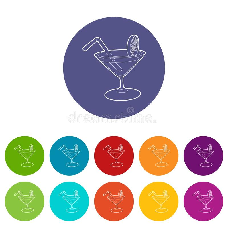 Cocktail icons set vector color. Cocktail icons color set vector for any web design on white background stock illustration