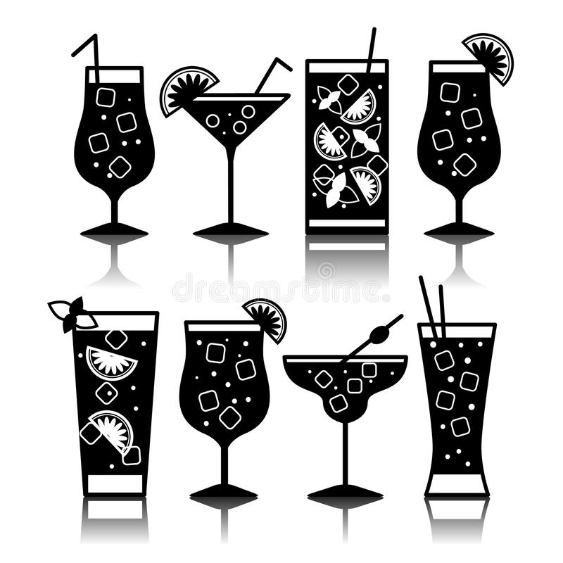 Cocktail icons. Different kinds of glasses royalty free illustration