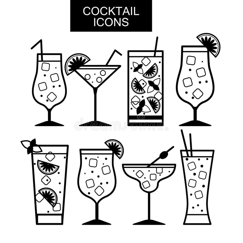 Cocktail icons. Different kinds of glasses stock illustration