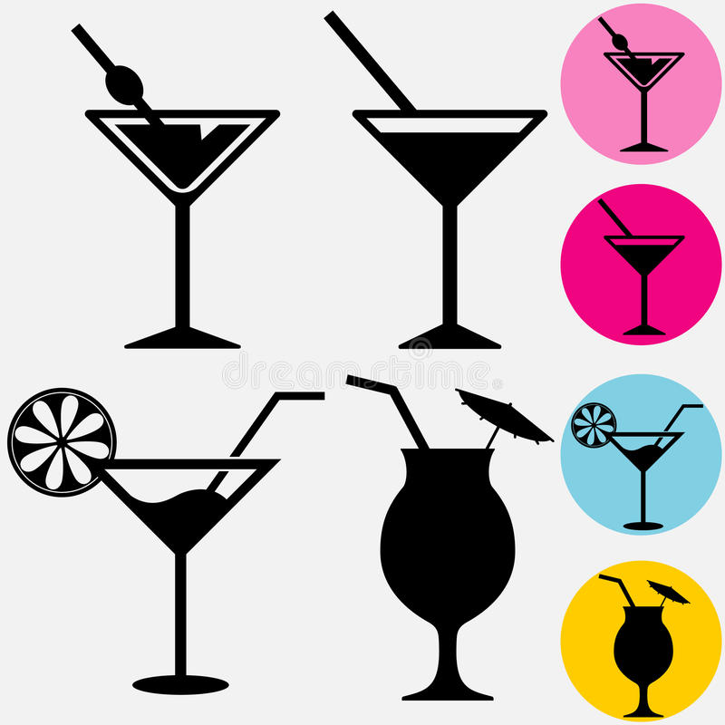 Cocktail. Icons. A glass for drinks silhouette with drinking straw. Vector royalty free illustration