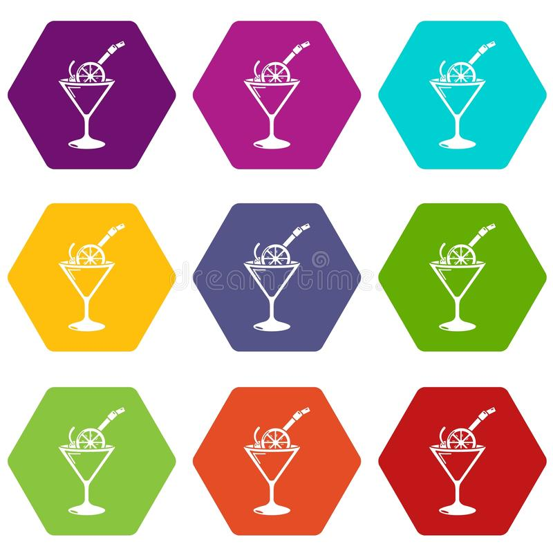 Cocktail icons set 9 vector stock illustration