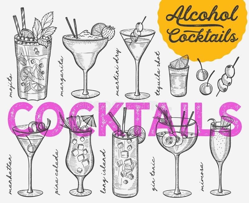 Cocktail illustration, vector hand drawn alcohol drinks. Cocktail illustration - margarita, mojito, gin tonic, mimosa, pina colada, long island, manhattan vector illustration