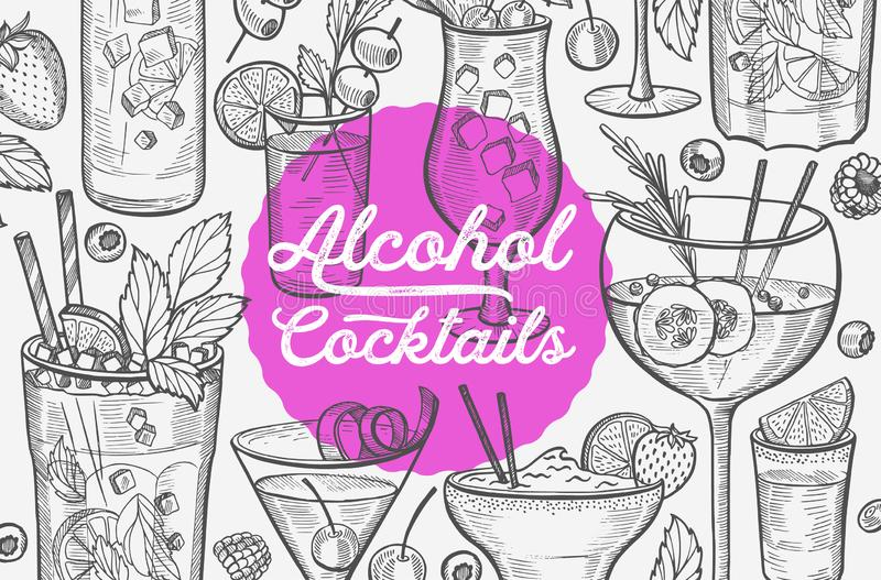 Cocktail illustration, vector hand drawn alcohol drinks. Cocktail illustration - margarita, mojito, gin tonic, mimosa, pina colada, long island, manhattan royalty free illustration