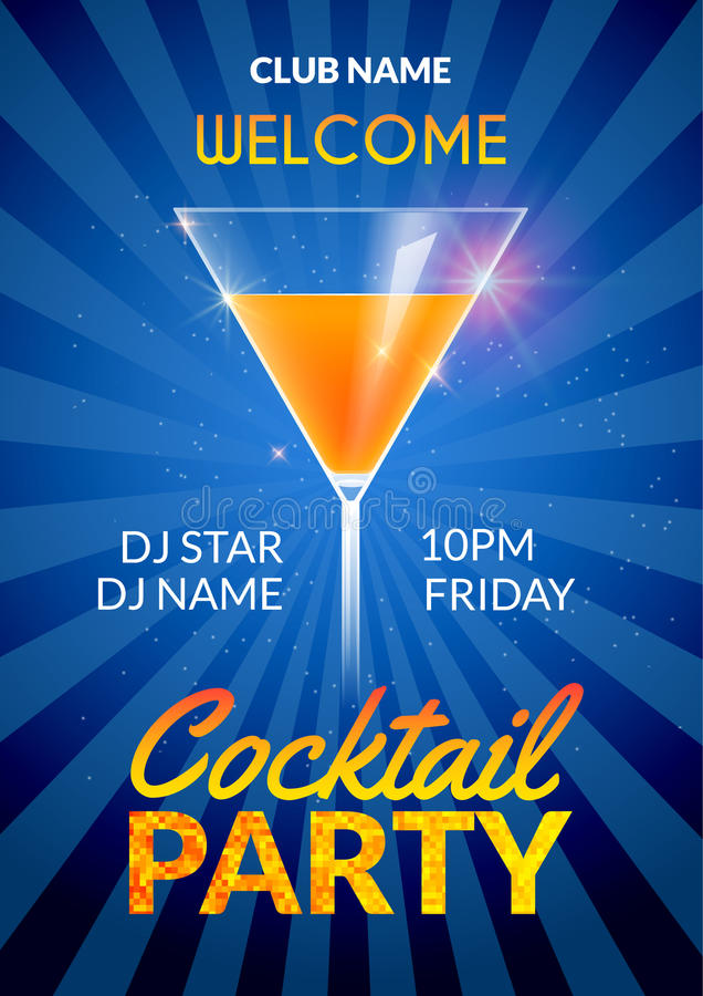 Cocktail Invitation design poster. Cocktail Party drink banner card or flyer template vector vector illustration