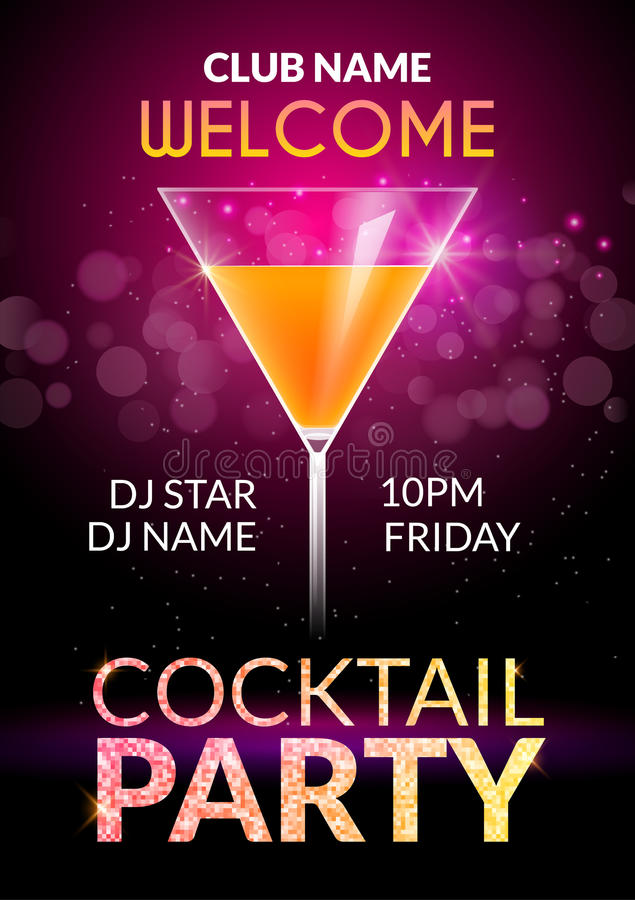 Cocktail Invitation design poster. Cocktail Party drink banner card or flyer template vector royalty free illustration