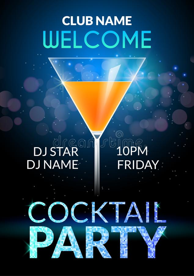 Cocktail Invitation design poster. Cocktail Party drink banner card or flyer template vector.  royalty free illustration