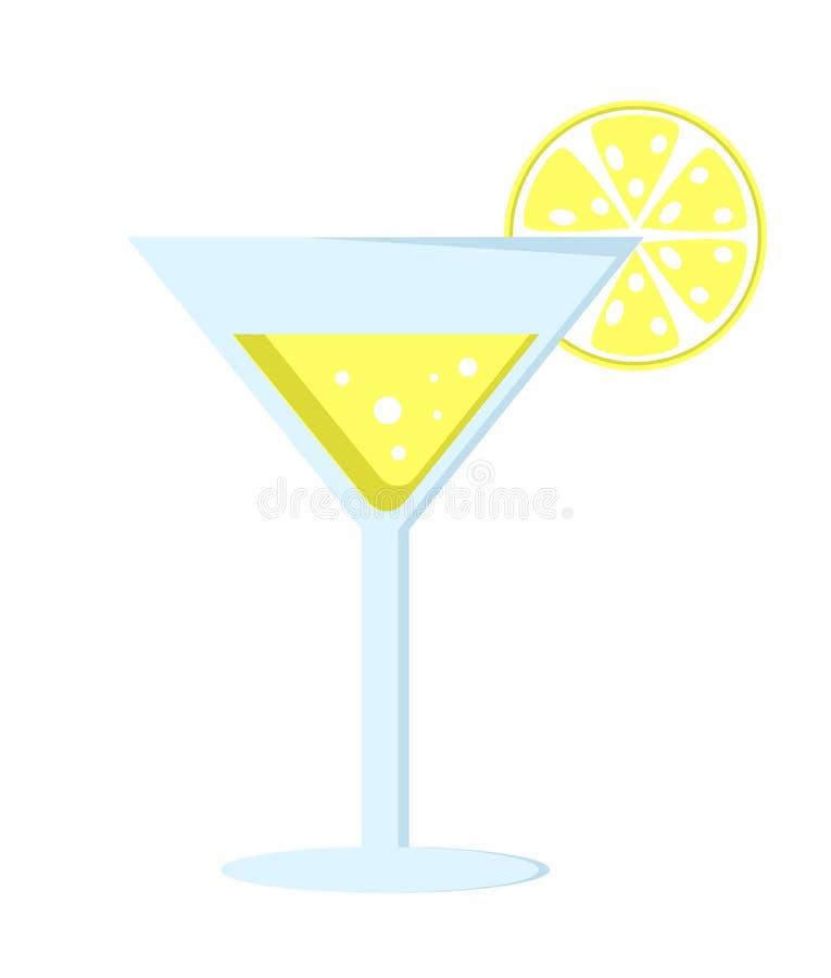 Cocktail jaune dans la longue jambe en verre avec le parapluie illustration de vecteur